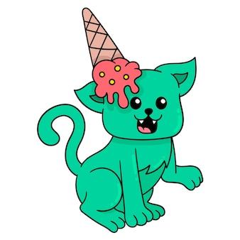 Кот получает мороженое на голове, векторные иллюстрации. каракули изображение значка каваи.