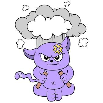 Кошка таит в себе эмоции, очень злые и готовые взорваться, векторная иллюстрация. каракули изображение значка каваи.