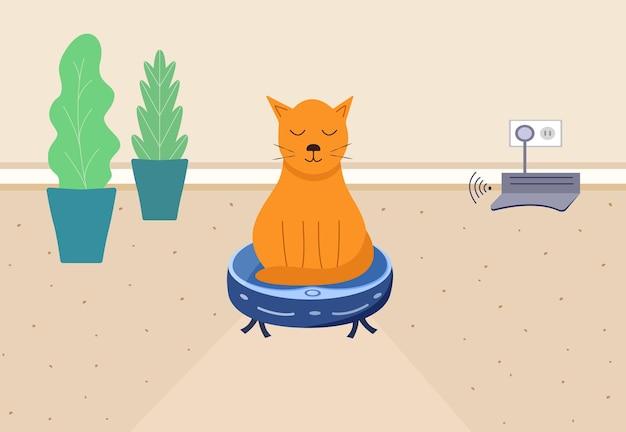 고양이는 로봇 청소기에 앉아 있습니다. 방의 내부, 가정 청소 및 가정용 자동화의 개념. 원격 충전 스테이션. 평면 만화 스타일의 벡터 일러스트 레이 션.