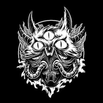 猫怪獣白黒イラスト