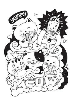 食べる猫。落書きイラスト
