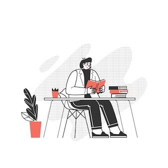 Персонаж читает книгу. парень со страстью к чтению литературы. люблю читать современную письменность.