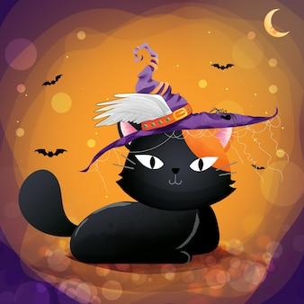 ハロウィンの日に黒い猫のキャラクター。
