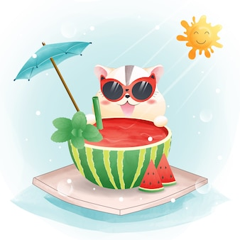여름철 수채화 스타일의 귀여운 햄스터와 수박의 캐릭터.