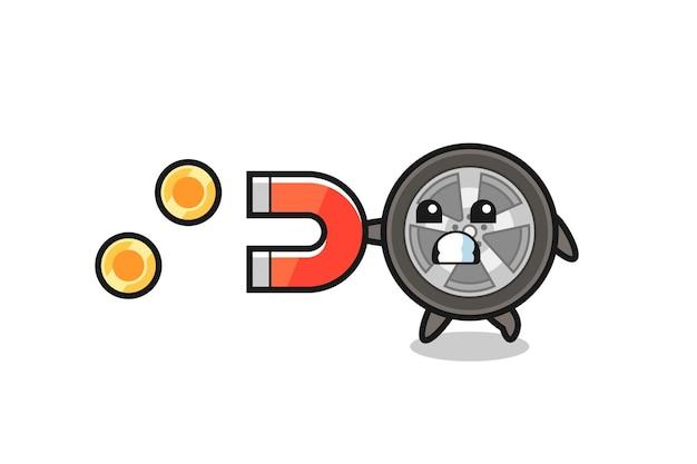 Персонаж автомобильного колеса держит магнит, чтобы поймать золотые монеты, милый стиль дизайна для футболки, наклейки, элемента логотипа