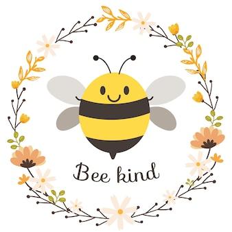 플랫 스타일의 귀여운 꿀벌과 꽃 화환의 캐릭터.