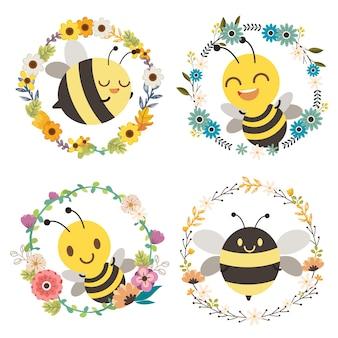꽃 화환 중앙에 앉아있는 귀여운 꿀벌 캐릭터