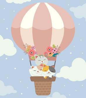 풍선 바구니에 귀여운 고양이와 친구들의 캐릭터. 하늘에 꽃과 함께 귀여운 풍선