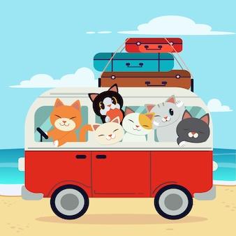 해변과 푸른 하늘에서 밴을 운전하는 귀여운 고양이의 성격. 귀여운 고양이의 캐릭터는 휴가 여행에 간다. 밴의 가방. 플랫 스타일의 귀여운 고양이의 캐릭터.