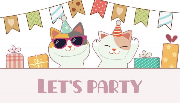 생일 파티를 위해 친구 춤을 추는 귀여운 고양이의 캐릭터. 티