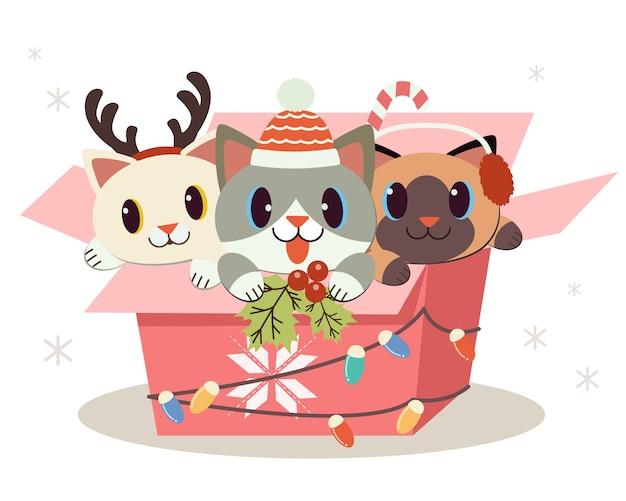 플랫 스타일로 선물 상자에 앉아있는 귀여운 강아지와 친구들의 캐릭터. 크리스마스, 생일 파티를위한 illustation.
