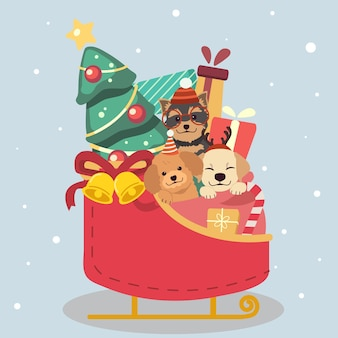 Персонаж симпатичной собаки и друзей, сидящих в снежных санях
