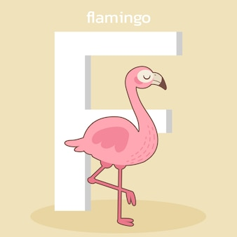 かわいいフラミンゴのキャラクター、fの大きなフォントで立っているかわいいフラミンゴのキャラクター