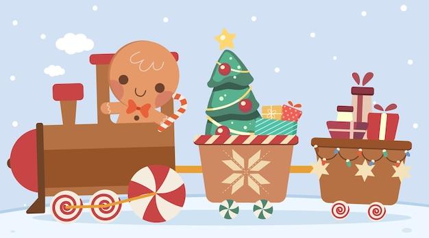 かわいいジンジャークッキーの男のキャラクターがクリスマス電車を運転します
