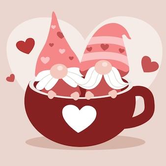 Персонаж милых гномов в красной чашке.