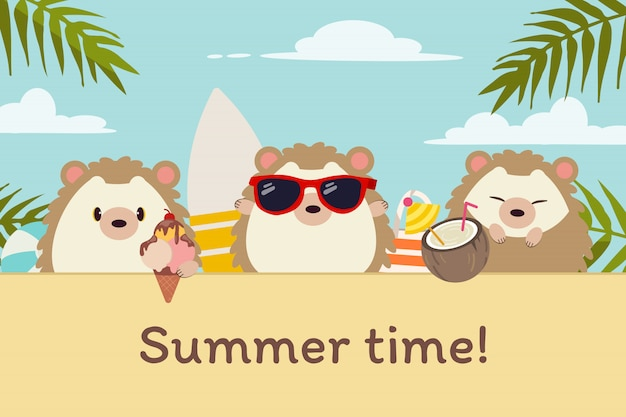 フラットスタイルで夏のビーチパーティーで友達とかわいいハリネズミのキャラクター。