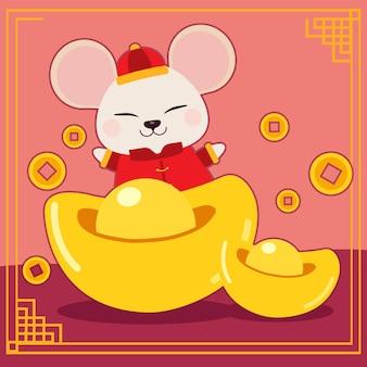 Персонаж милой мышки с китайскими деньгами и китайской монеткой для открытки или плаката счастливого китайского нового года 2020