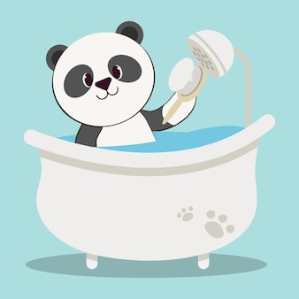 튜브와 브러시에 귀여운 팬더 곰의 캐릭터