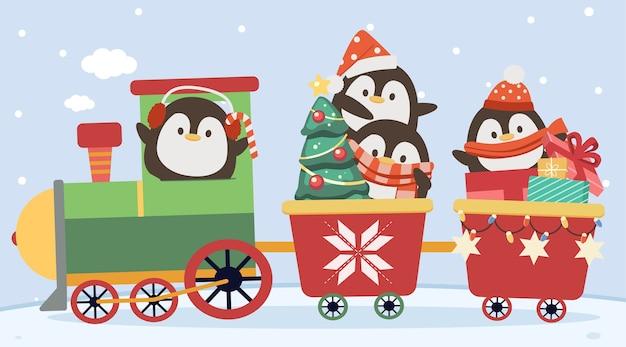 Персонаж милого пингвина в рождественском поезде в плоском стиле.