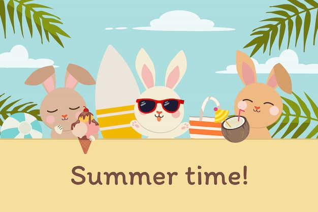 フラットスタイルの夏のビーチパーティーで友達とかわいいウサギのキャラクター。