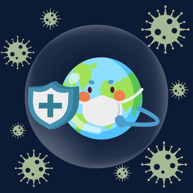 地球の特性は、ウイルスから自己を守るためにシールドを使用します。地球はウイルスと戦う。