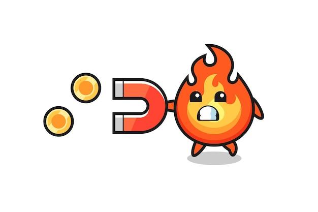 火のキャラクターは金貨をキャッチする磁石を保持し、tシャツ、ステッカー、ロゴ要素のかわいいスタイルのデザイン