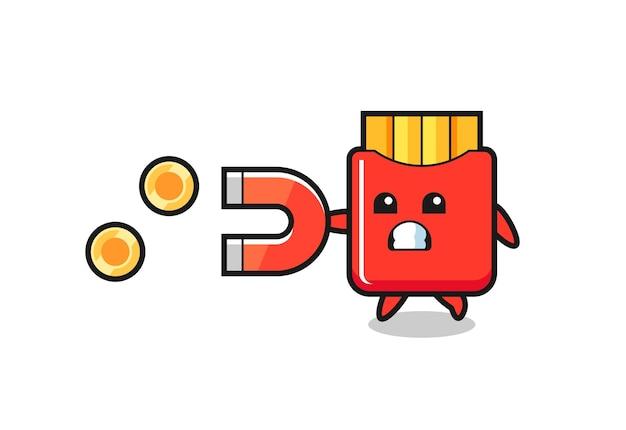 감자 튀김의 캐릭터는 금화를 잡기 위해 자석을 잡고 티셔츠, 스티커, 로고 요소를 위한 귀여운 스타일 디자인
