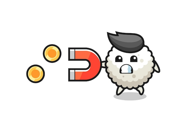 주먹밥의 캐릭터는 금화를 잡기 위해 자석을 잡고, 티셔츠, 스티커, 로고 요소를 위한 귀여운 스타일 디자인