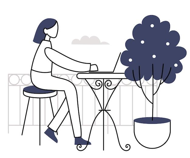 발코니에 있는 캐릭터는 노트북으로 작업합니다. 소녀는 야외에서 일합니다. 선형 다락방에서 그림
