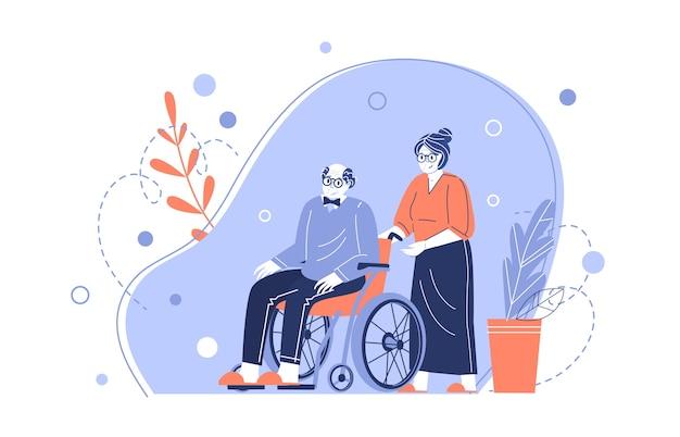 노부부의 캐릭터. 할머니는 휠체어를 탄 노인 할아버지를 돌보고 있습니다. 노인 돕기. 연금 수급자 돌보기. 플랫 스타일의 벡터 일러스트 레이션