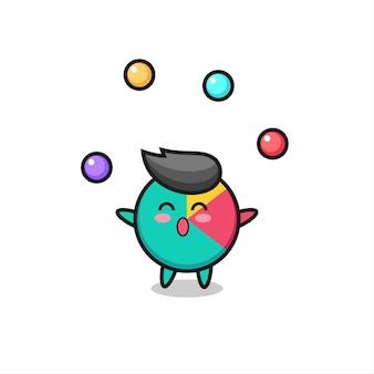 공을 저글링하는 차트 서커스 만화, 티셔츠, 스티커, 로고 요소를 위한 귀여운 스타일 디자인