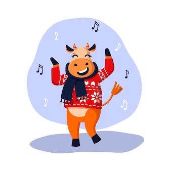 쾌활한 황소는 새해를 위해 벡터 일러스트레이션을 춤추고 있습니다