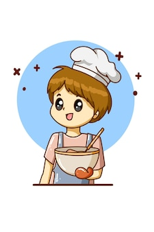 노동절 만화 삽화를 위해 요리하는 요리사