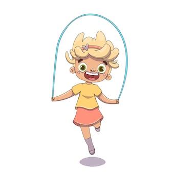 아이가 스포츠 휴식을 위해 들어갑니다 밧줄에 점프가 재미있습니다 치마를 입은 웃는 소녀가 점프하고 있습니다