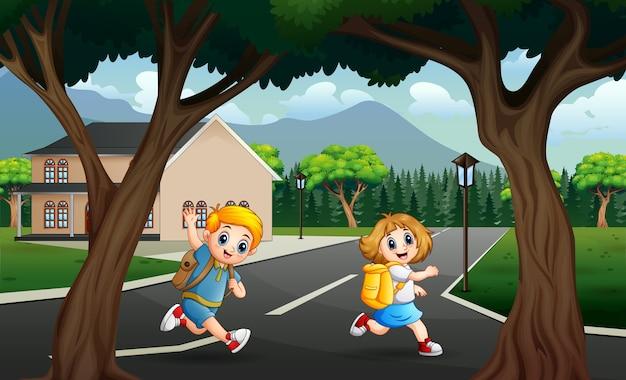 子供は学校のイラストに逃げる