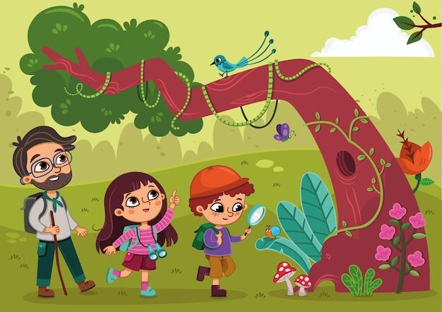 아이들은 선생님 벡터 삽화와 함께 자연 속에서 탐험을 하고 있습니다.
