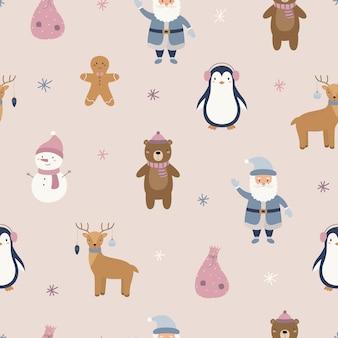 Новогодний узор пряничный человечек пингвин мишка санта клаус снеговик олень