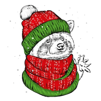 Рождественский постер с изображением портрета енота в шапке санты.