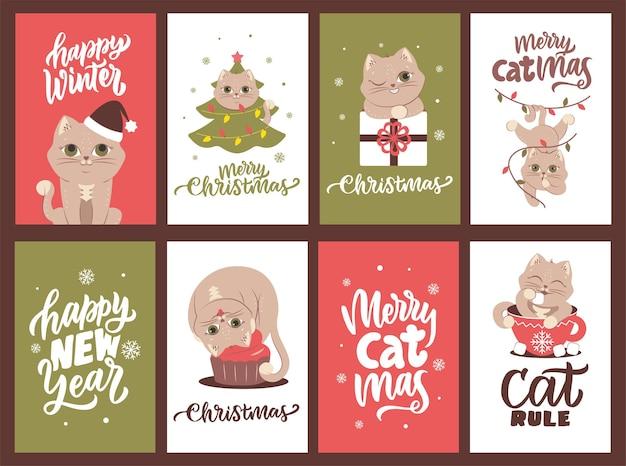 Рождественский набор открыток с котиками и цитатами про новый год дизайн для праздничных дизайнов.