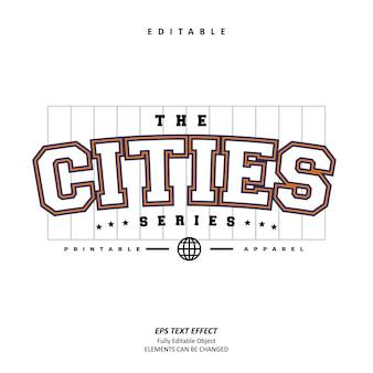 도시 스포츠 의류 텍스트 효과 편집 가능한 프리미엄 벡터