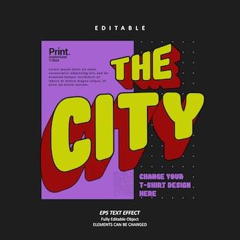 City retro 90s 굵은 텍스트 효과 편집 가능한 프리미엄 벡터