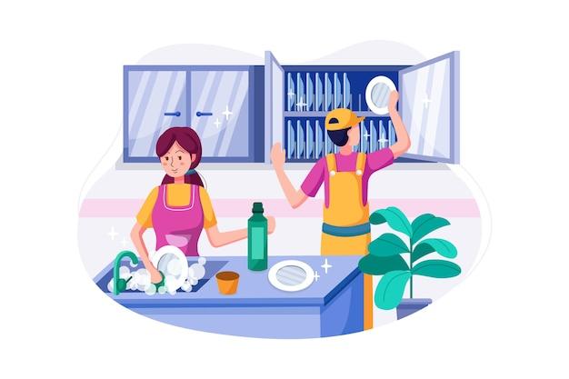 清掃チームは皿洗いと整理をしています