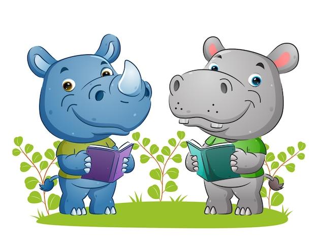 Умные бегемот и носорог вместе читают книги в саду иллюстраций.