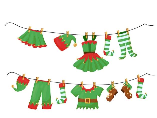 Одежда эльфов помощников санты свисает на веревке. рождественский декор в мультяшном стиле. векторные иллюстрации, изолированные на белом фоне.