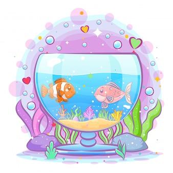 어릿 광대 물고기가 수족관 안에서 친구들과 놀아요