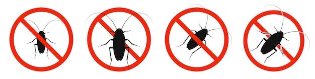 Таракан с красным знаком запрета на белом