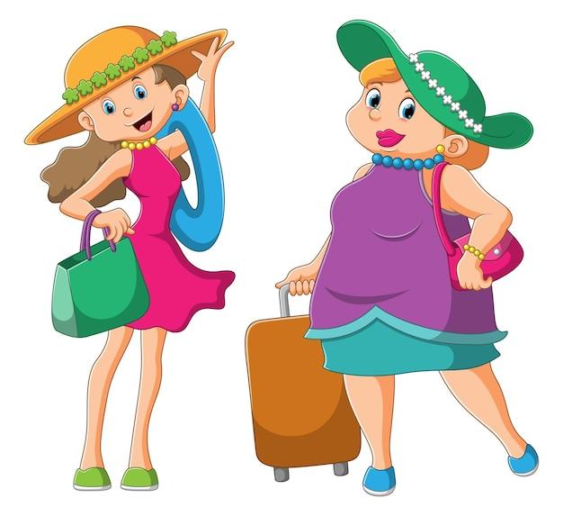 컬렉션 세련된 여성이 여행을 위해 비치웨어를 사용하고 있습니다.