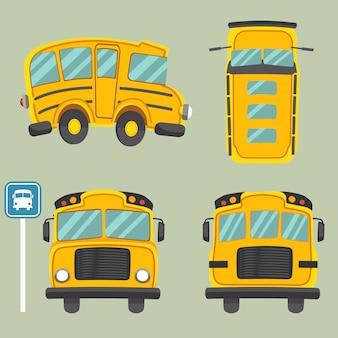 노란색 스쿨 버스 모음. 스쿨 버스의 정면도 및 측면도 및 후면도.