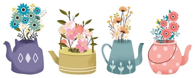 주전자 세트에 꽃의 꽃다발의 컬렉션입니다. 봄 꽃. 티타임 세트.