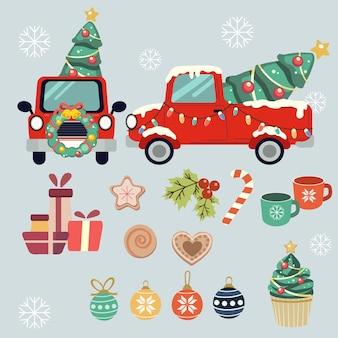 Коллекция рождественских грузовиков и элементов для вечеринки в плоском векторном стиле.